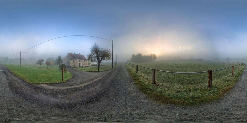 Nebel-Weg-Sonne Panorama