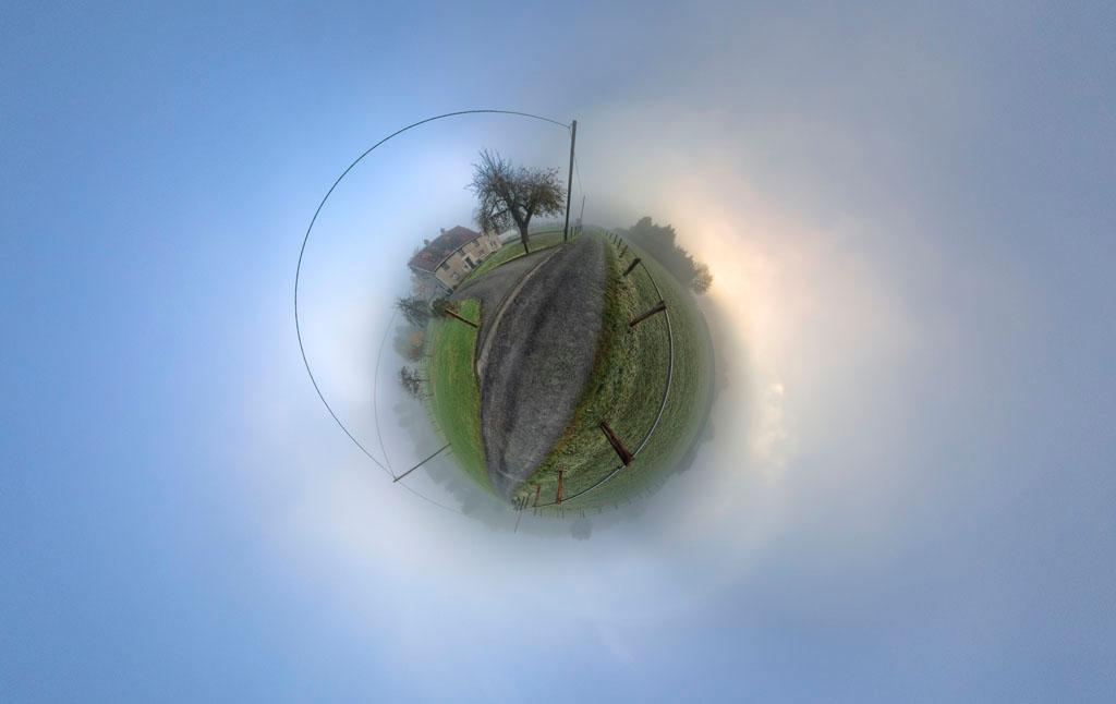 Nebel-Weg-Sonne Polarpanorama