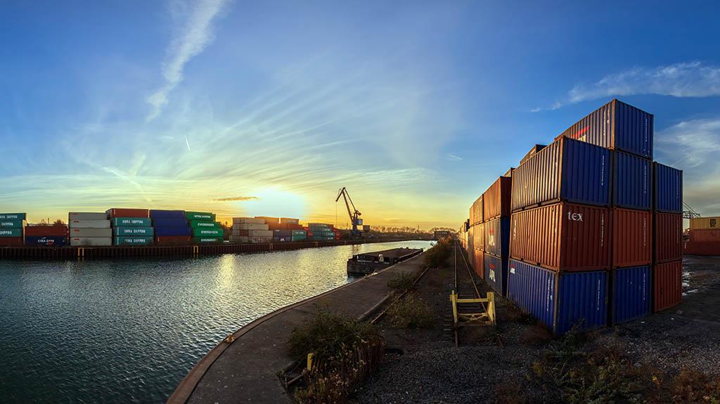Dortmund Hafen Sonnenuntergang Panorama