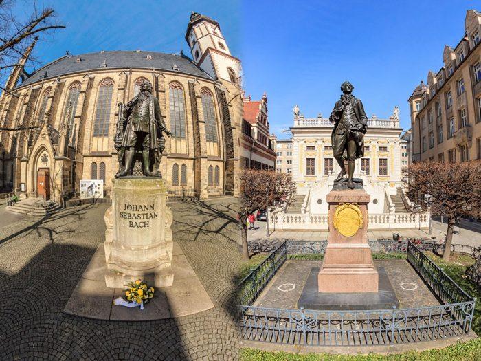 Bach und Goehte Statue in Leipzig