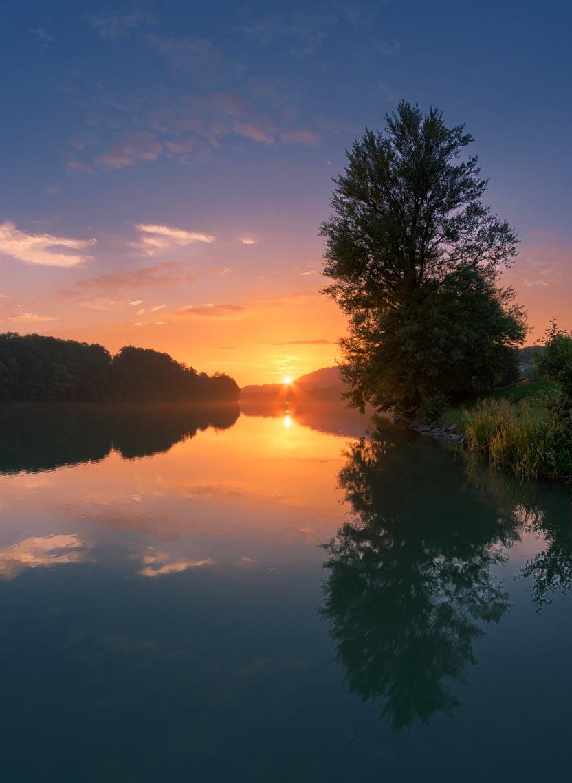 Sonnenuntergang am Rhein bei Murg Panorama