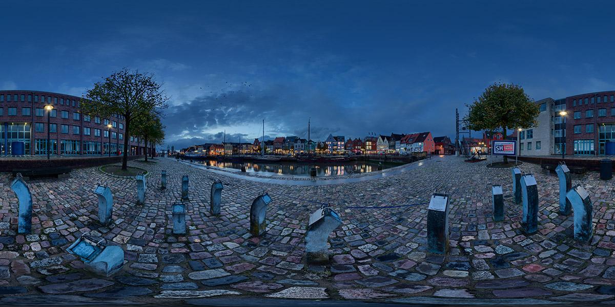 360 Grad Panorama am Hafen in Husum