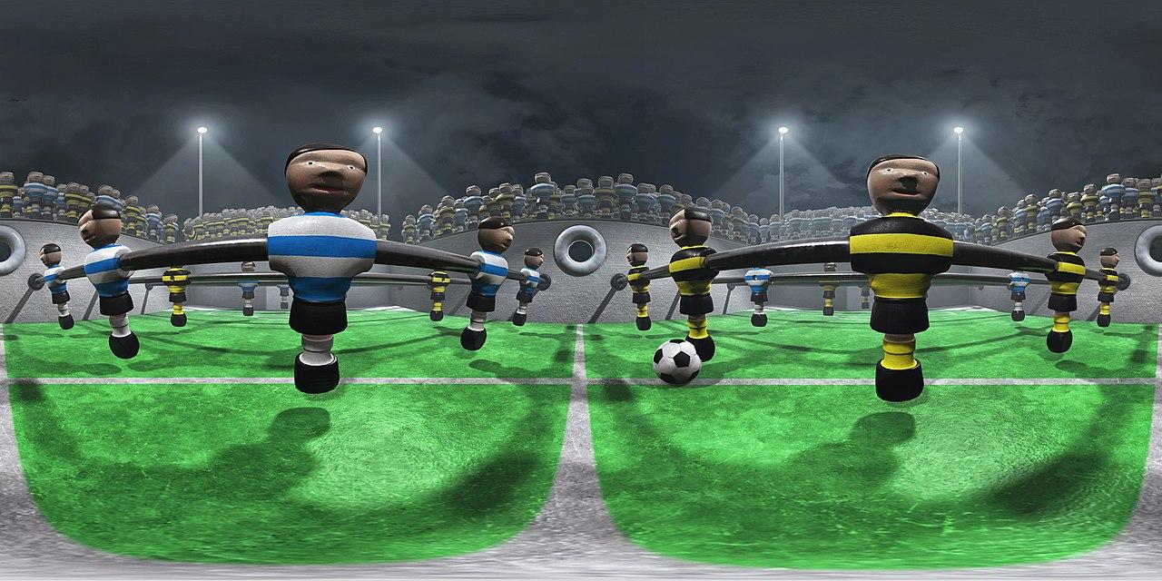 360° CGI Panorama auf einem Kickertisch